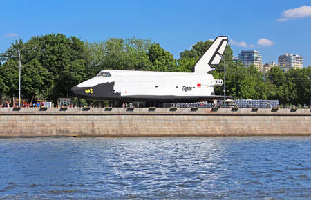 reusable: Buran - orbital Soviet reusable space ship delivered in the Gorky Park as a scientific and educational attraction  in Moscow, Russia