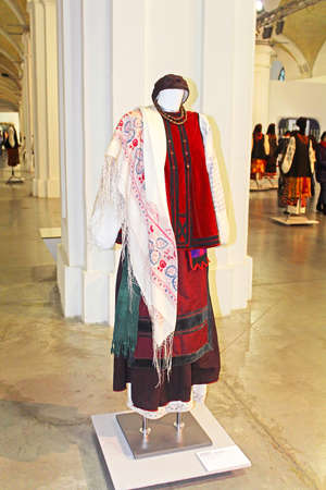 ukrainian ethnicity: 5 Feb.- 1 March 2015 at cultural complex Art Arsenal held inter-museum art project Windows in which 100 exhibited Ukrainian clothing of Ukraine in Kyiv, Ukraine Editorial