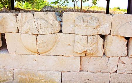 mediteranean: Ruins of the Dion Archeological Site in Greece. Shields dedicated by Alexander the Great on his victory over the Persians at the Granicus river Stock Photo