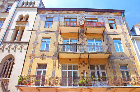 ornamentation: Majolica House with its beautiful ornamentation on Les Kurbas Street in Lviv, Ukraine Stock Photo