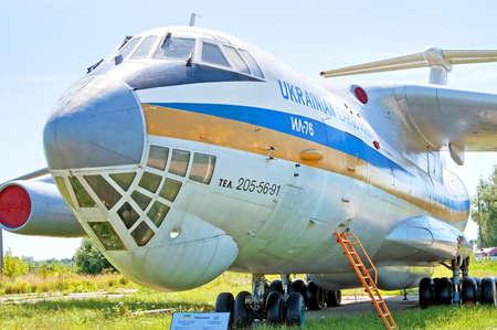 campus tour: Ilyushin-Il 76 aircraft at Zhuliany State Aviation Museum in Kyiv, Ukraine. Zhuliany State Aviation Museum is the largest aviation museum in Ukraine
