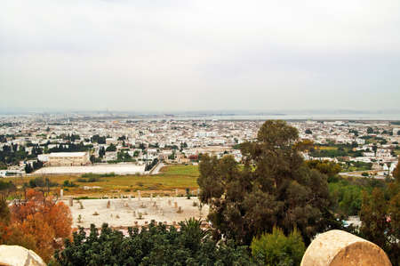 cartage: The view from Saint Louis Cathedral of Carthage ruins and the city Cartage, Tunisia Stock Photo