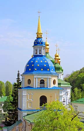 dome type: Belltower of Vydubychi Monastery in the spring, Kyiv, Ukraine