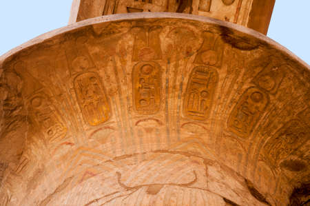 thebes: Details of magnificent columns of the Great Hypostyle Hall at the Temples of Karnak (ancient Thebes), Luxor, Egypt