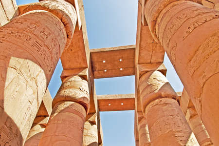 thebes: Magnificent columns of the Great Hypostyle Hall at the Temples of Karnak (ancient Thebes). Luxor, Egypt