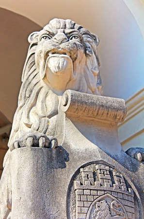 emblem of ukraine: Symbol, emblem of the city Lviv, Ukraine. Marble sculpture - a lion near the town hall in Lviv city, Ukraine