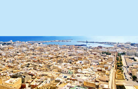 mediaval: Aerial view from mediaval fortress that nowadays serves as the archaeological museum of Sousse, Tunisia, Africa Stock Photo