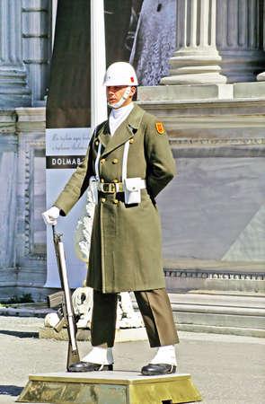 turkiye: Turkish guardman near Dolmabahce palace, Istanbul, Turkey