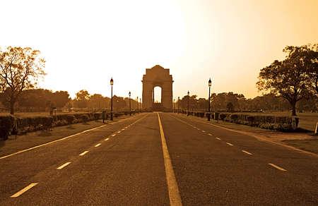 india gate: India Gate in sunset, Delhi, India. Sepia