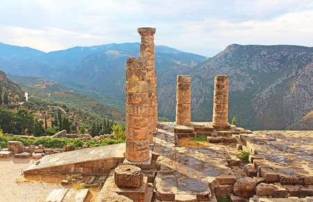 delfi: Temple of Apollo in Delphi, Greece Stock Photo
