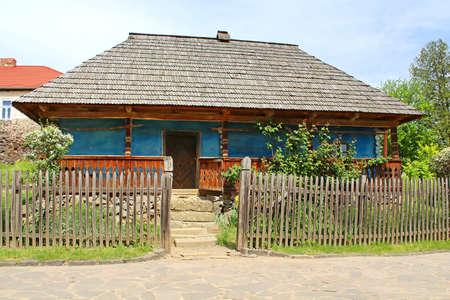 lopsided: Old wooden house in museum of Folk Architecture in Uzhhorod, Ukraine Stock Photo