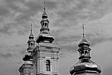 transfiguration: Holy Transfiguration Cathedral in Vinnytsia, Ukraine (black and white)