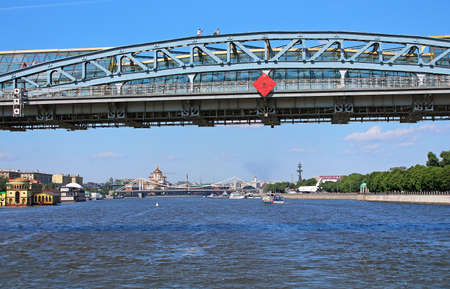 pedestrian bridges: Moscow river and Pedestrian Andreevsky bridge in Moscow, Russia. The name ofbridge refers to a historical bridge demolished in 1998 and three existing bridges across Moskva River, located between Luzhniki and Gorky Park in Moscow