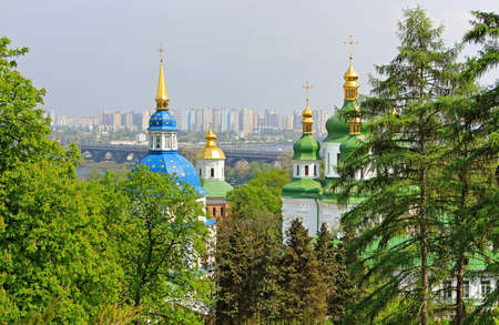 dome type: View of Vydubychi Monastery, left bank of the Dnipro River and the modern part of city Kyiv Stock Photo