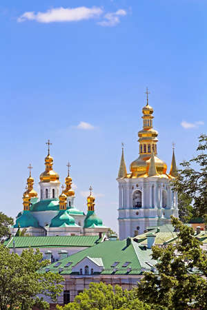 Bell Tower of Distant Caves and Church of Birth Blessed Virgin Holy Assumption of Kiev Pechrsk Lavra monestary, Kyiv, Ukraine. Oldest Orthodox Monastery in Ukraine, dating from 1051