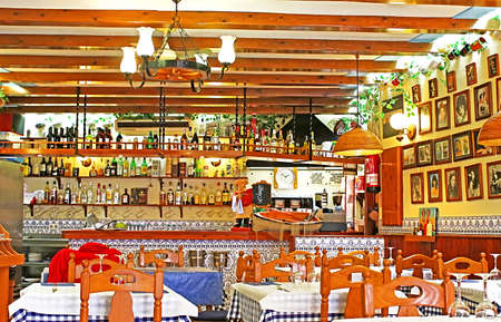 Typical Spainish cafe interior in Tossa de Mar, Spain Editorial