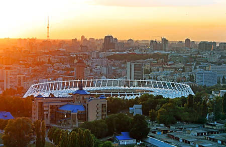 olimpiysky: View of the soccer stadium at sunset and the view of Kyiv, Ukraine Stock Photo