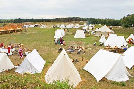 Camp at historic reconstruction of Kievan Rus in the ethnopark Kievan Rus in the village Kopachiv, near Kyiv, Ukraine