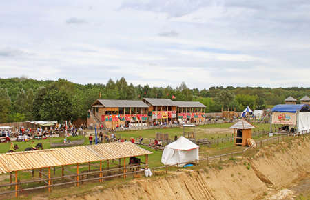 Historic reconstruction of Kievan Rus in the ethnopark Kievan Rus in the village Kopachiv, near Kyiv, Ukraine Editorial
