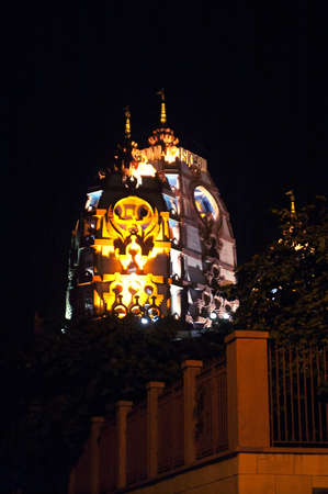 dome of hindu temple: Sri Sri Radha Parthasarathi Mandir, generally known as the ISKCON Delhi temple, is a well known Vaishnav temple of Lord Krishna and Radharani in the form of Radha Parthasarathi, New Delhi, India at night
