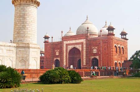 Unidentified people are visiting Taj Mahal Jawab, Agra, India. Editorial