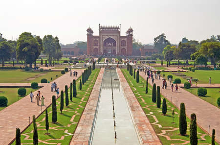View on entrance to Taj Mahal complex in Agra, India.