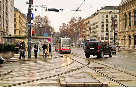 Public transportation with tram near Vienna State Opera at the city center of Austrias capital city Vienna