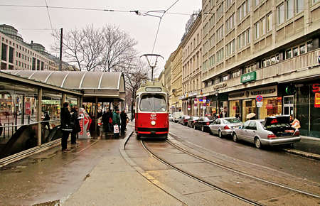 Public transportation with tram at the city center of Austrias capital city Vienna. Editorial