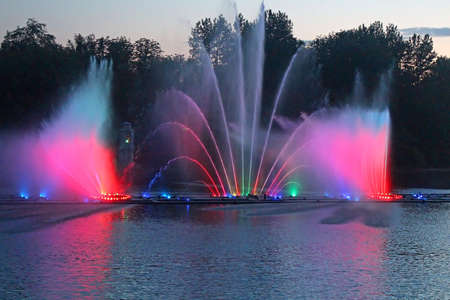 Biggest fountain on the river in Vinnytsia, Ukraine. Located in the river Southern Buh fountain has a length of 140 meters and the height of the jet up to 60 m, it is equipped with a laser system that allows to display animations directly to the fountain  Editorial
