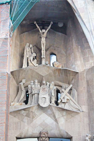 neogothic: Details of cathedral  Sagrada Familia in Barcelona. Spains most famous religious building. Construction is still taking place many years after Antonio Gaudis death Editorial