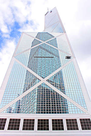 HONG KONG - MAY 15, 2014:  Bank of China tower in Hong Kong. 367 meters BOC one of the tallest in Hong Kong seen as violation of feng shui principles to locals.