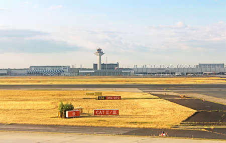 air traffic: Airport in Frankfurt, Germany in the morning Editorial