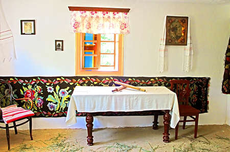 cossacks: Interior of typical Ukrainian house at Historical and Cultural Reserve Busha, Vinnytsia region, village Busha, Ukraine. The interior in the style of the agricultural Cossacks