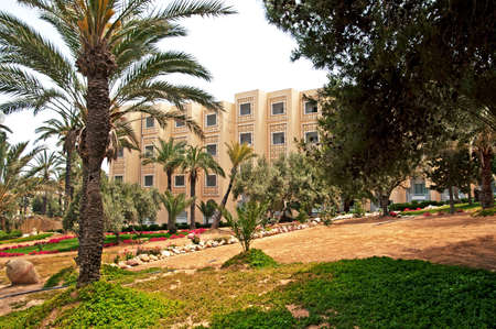 Hotel area in Sousse, Tunisia. Tunisian economy is based on transport equipment, processed food, olive oil, textiles and tourism.