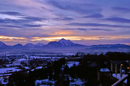 residenz: View of Zalzburg and The Alps from Kapuzinerberg on the sunset, Austria