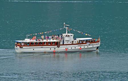 cerulean: Touristic boat in Montenegro Editorial