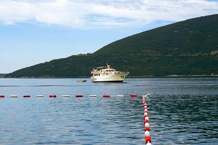 hovercraft: Big sailing ship. Tourist ship in Montenegro