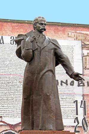 Monument of Taras Shevchenko on the central square in the old town Chernivtsi. Western Ukraine Editorial