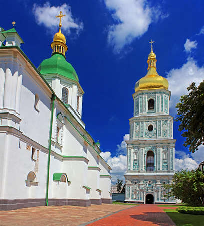 sobor: View on bell tower and Saint Sophia Cathedral  in Kyiv, Ukraine