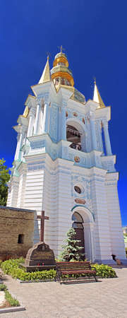 Bell Tower Far Caves of  Holy Assumption Pechrsk Lavra Cathedral in Kyiv, Ukraine. Oldest Orthodox Monastery in Ukraine, dating from 1051