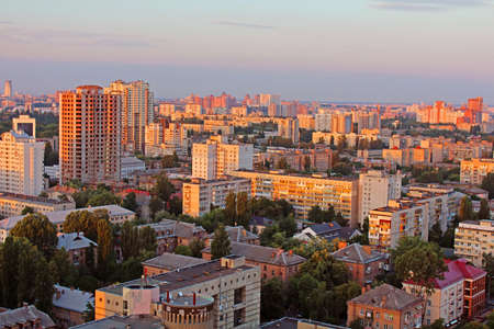 Dormitory area of Kyiv city on the beautiful sunset, Ukraine
