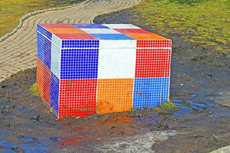 Rubiks Cube on the childrens Alice in Wonderland playground in Picturesque Alley by sculptor Konstantin Skretutskiy Editorial