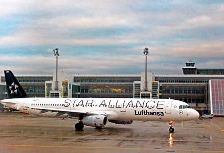 LUFTHANSA Airbus A319-100 lands at the Flughafen Munich Airport (MUC), the second busiest airport in Germany, is a hub for Germain airline Lufthansa (LH)