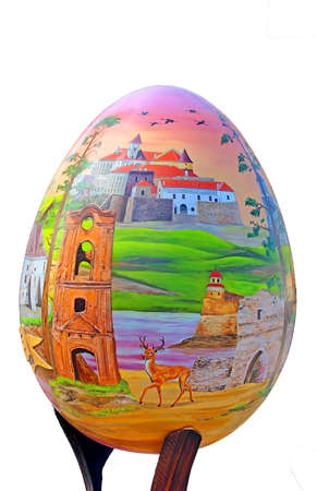 Painted egg. Street festival of large Easter eggs on Sofievskaya Square. Isolated