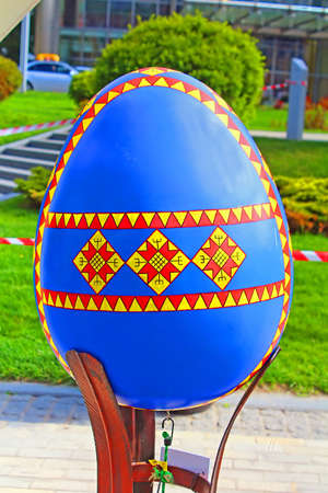 Painted egg. Street festival of large Easter eggs on Sofievskaya Square Editorial