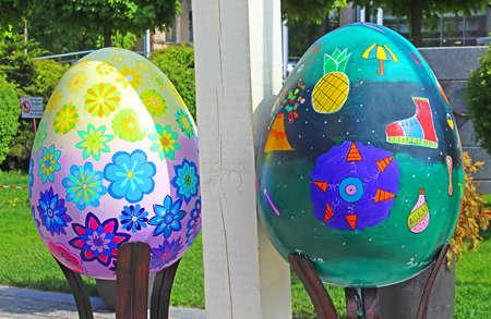Painted eggs. Street festival of large Easter eggs on Sofievskaya Square