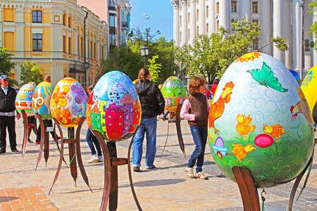 Painted eggs. Street festival of large Easter eggs on Mikhailovska Square