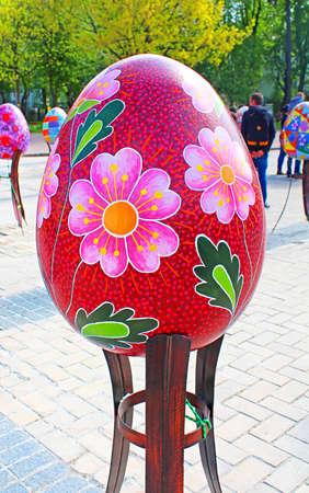 Painted egg. Street festival of large Easter eggs on Mikhailovska Square