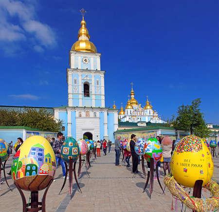 Painted eggs. Street festival of large Easter eggs on Mikhailovska Square near Mikhailovsky cathedral