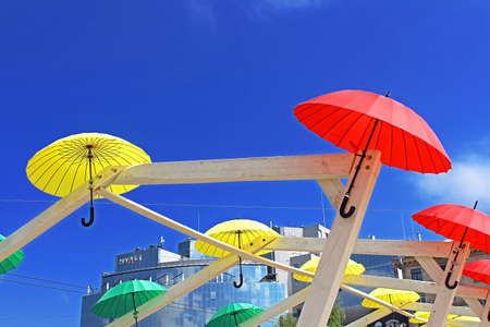 Bright umbrellas decoration in fan zone for international song competition Eurovision-2017 on Sofia square in Kyiv